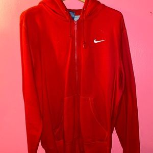 Red Nike Zip-up hoodie